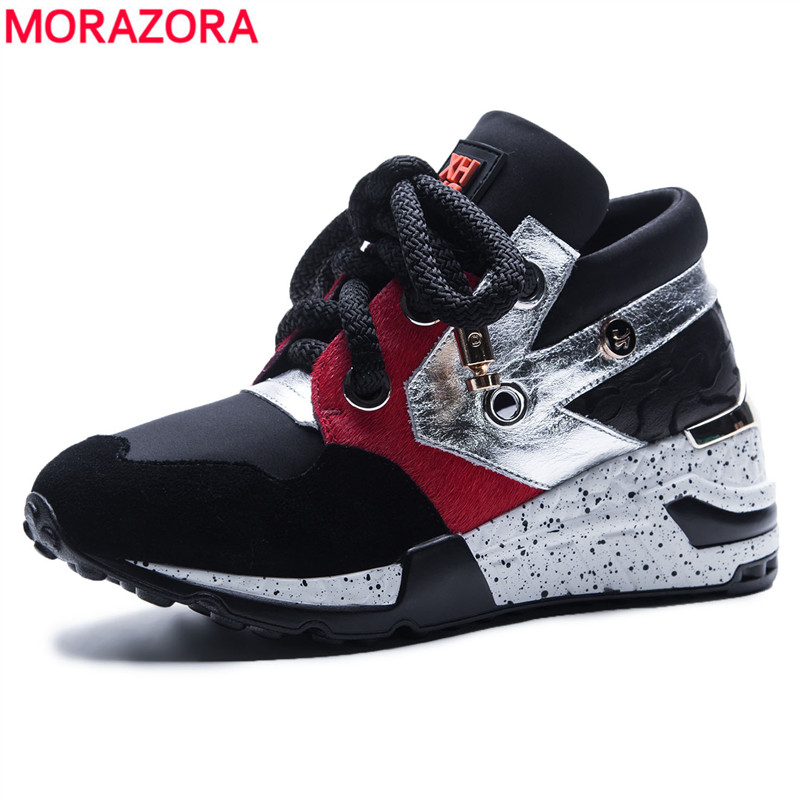 MORAZORA SIZE 35-42 New 2018 woman shoes real leather casual shoes sneakers women fashion lace up ladies platform flat shoes beffery 2018 british style patent leather flat shoes fashion thick bottom platform shoes for women lace up casual shoes a18a309