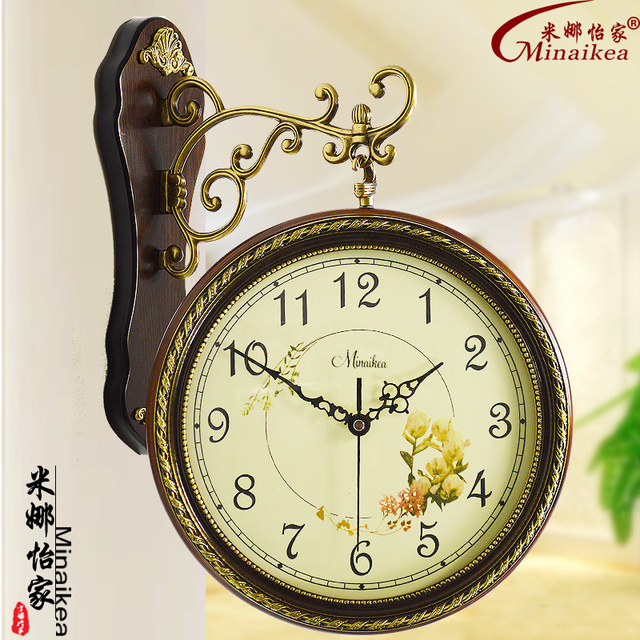 Fashion Copper Double Faced Antique Wall Clock Ultralarge Quartz Watches And Clocks Solid Wood