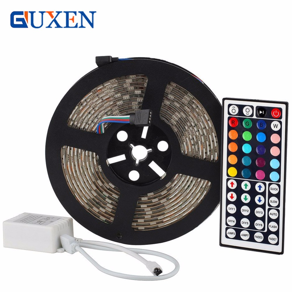 GUXEN 5m/row 60leds/m Led strip DC12V SMD 5050 waterproof Flexible LED Strip Light RGB+44 key remote control