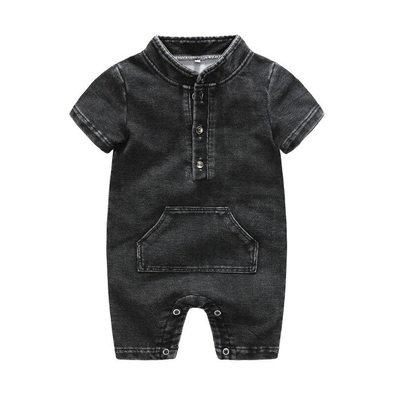 2018 Summer Baby Boys Casual Jumpsuit Infant Kids Denim Short-sleeved Bodysuit Newborn Fashion Outfits 0-2T