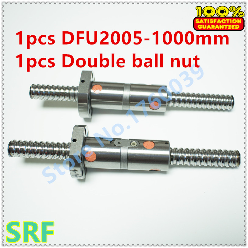 High quality 1pcs 20mm Dia lead Ball screw 1pcs DFU2005 Rolled ballscrew L=1000mm +1pcs Double ball nut without end machined 16mm dia rolled ballscrew rm1605 l 350mm c7 1pcs double ball nut without end machined