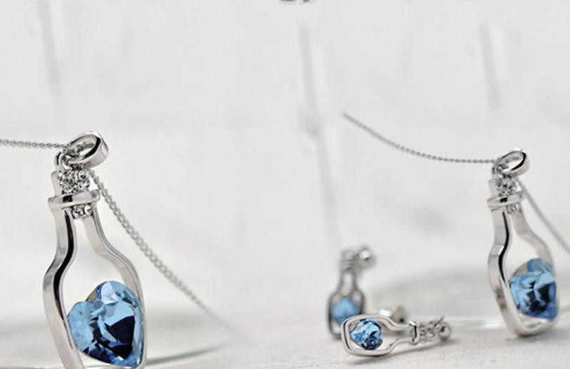 Newes женское модное женское ожерелье популярное хрустальное ожерелье Любовь дрейф бутылки голубое сердце хрустальное ожерелье