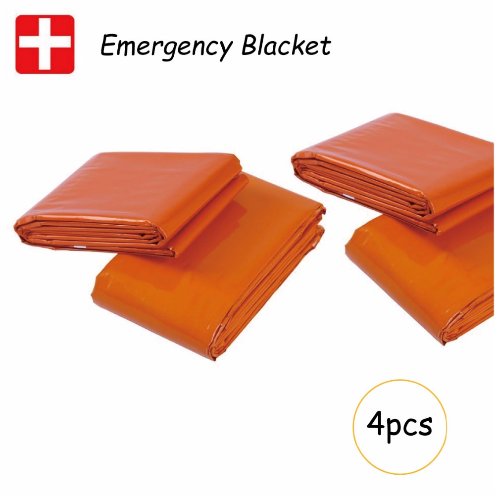 4 pcs Waterproof emergency reusable Warming Climbing Outdoor Survival Kits thermal Blanket poncho