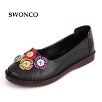 SWONCO Women S Flats Ladies Shoe Genuine Leather Vintage Handmade Shoes Loafers Ladies Shoe Flat Slip