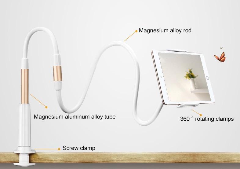 "imágenes para XFSKY ABS de aleación de Aluminio de Soporte Para la Tableta y teléfono celular Flexible de Escritorio de Pie Con clip de teléfono Universal Para 4.7 ""-9.7"" teléfono"