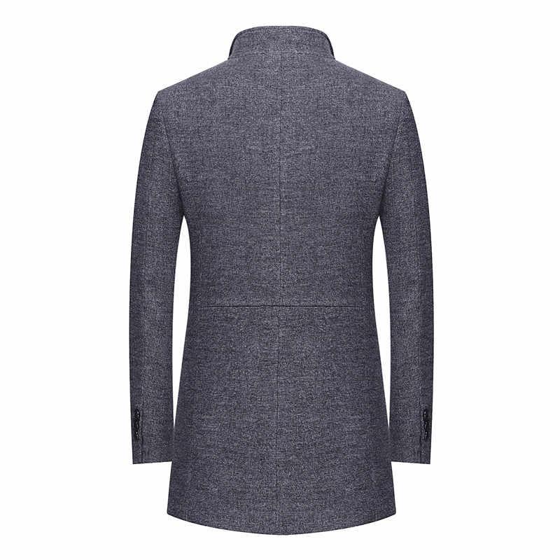 2019 شتاء جديد الرجال عارضة الصوف خندق معطف الأعمال الأزياء رشاقته ضئيلة طويلة الدافئة معطف سترة الذكور العلامة التجارية الملابس