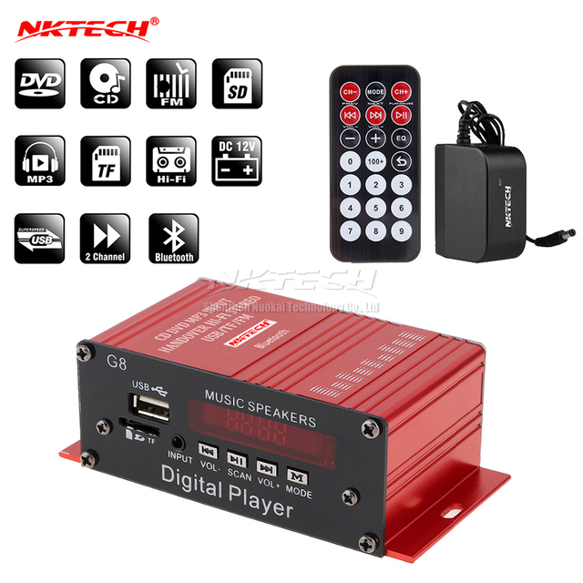 NKTECH NK G8 Car Power Amplifier Bluetooth Digital Player Audio 2CH 18W RMS Music Speaker IR Hi Fi Stereo FM USB TF MP3 MINI AMP