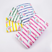 Watermelon Stripe Print Cotton Twill Fabric Woven Breathable Patchwork DIY Sewing Baby Clothing Sheet Textile