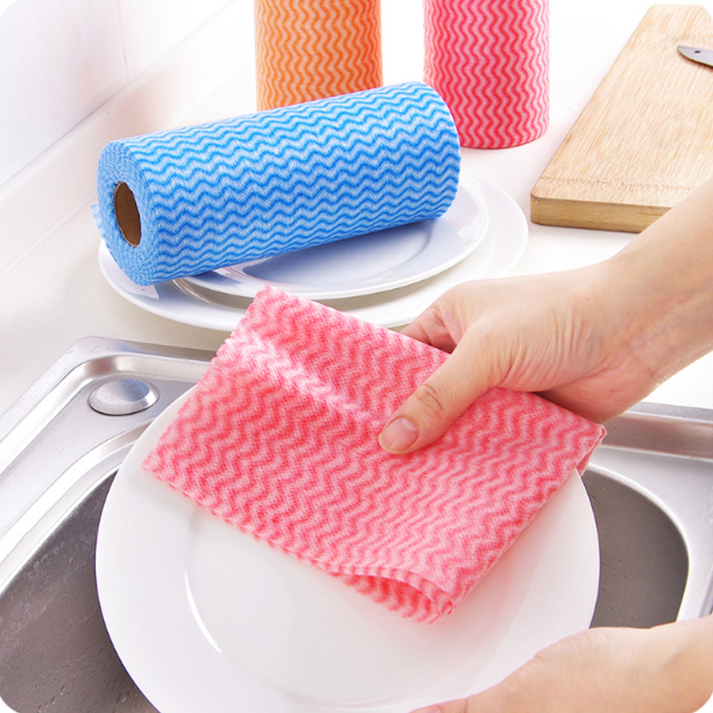 Image 2 - 1 Roll Non Woven Kitchen Towels Micro Fabric Disposable Striped Practical Rags Wiping Souring Pads Washing Cleaning Cloth Towels-in Cleaning Cloths from Home & Garden