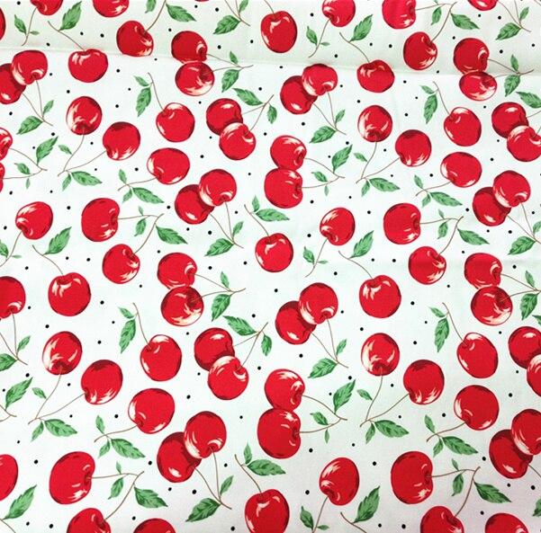 125x100 см Винтаж красная вишня печати стежка Фабрис хлопок поплин материал для одежды платье taxtile лоскутное шитье DIY