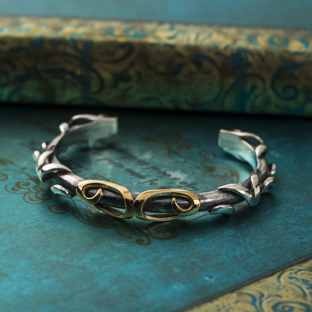 f4856d9776a New Unique Tight Curse Shape Bangles Vintage Paved Cuff silver Bangle retro  chunky jewelry For men Fashion Wrist Jewelry Gift