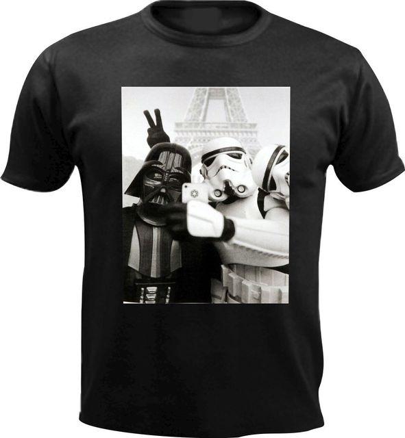 Darth Vader de Star Wars Jedi Selfie Stormtrooper Homens Engraçados da camisa Harajuku Tops Moda Clássica Presente de Aniversário Frete grátis