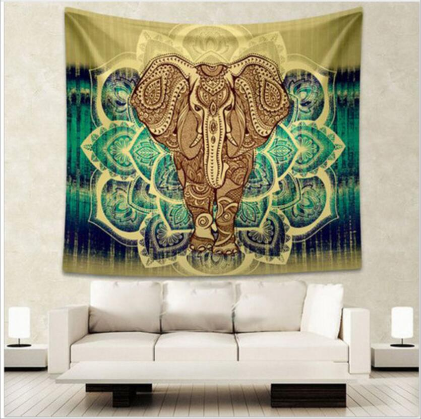 Enipate Indian Elephant Tapestry Aubusson Colored Printed Decor Mandala Tapestry Religious Boho