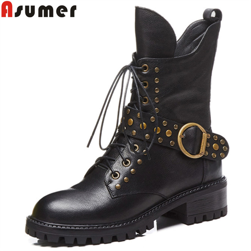 ASUMER black fashion new ankle boots for women round toe genuine leather boots med heels ladies classic  boots 2018 hot ASUMER black fashion new ankle boots for women round toe genuine leather boots med heels ladies classic  boots 2018 hot