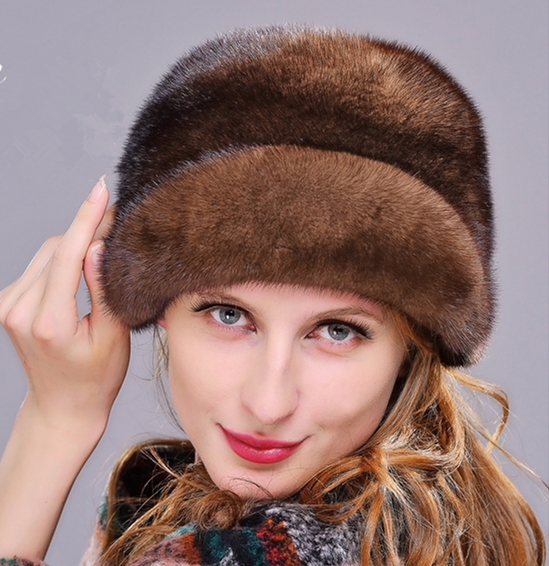 HM013 Winter hats for women Real genuine mink  fur hat  women's winter hats whole piece mink fur hats women s winter beanie hat wool knitted cap shining rhinestone beanie mink fur pompom hats for women