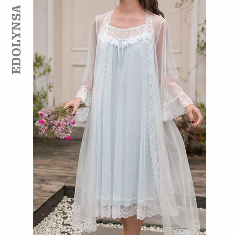 3e3837e45 2019 Sleepwear Women Night Wear Robe Gown Set Silk Lace Kimono Sexy Nightie  Cotton Lining Slip