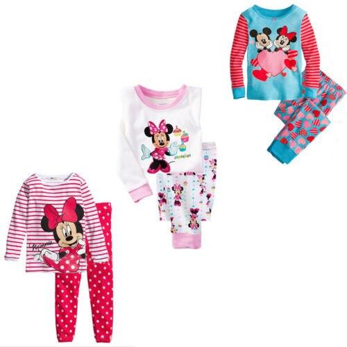 Minnie Mouse Pajamas Girls Top Shirt Legging Set Kids Nightwear Sleepwear