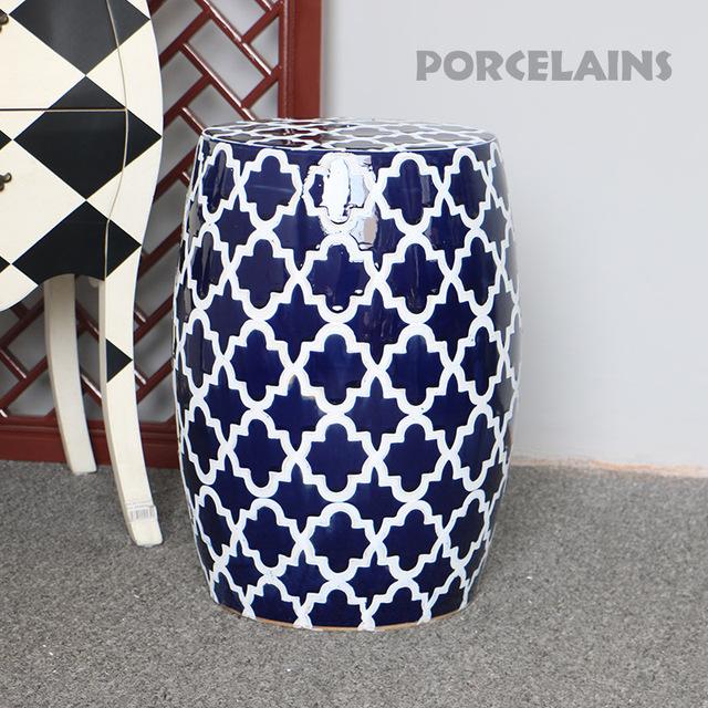 Clássico azul e branco da porcelana fezes jardim assento