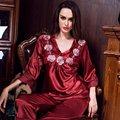 Nova Chegada da Primavera Outono Conjuntos de Pijama de Seda Das Mulheres Da Forma Ocasional Das Senhoras Vermelho Sleepwear Fêmea Home Ternos Desgaste do Sono Robe Lingerie