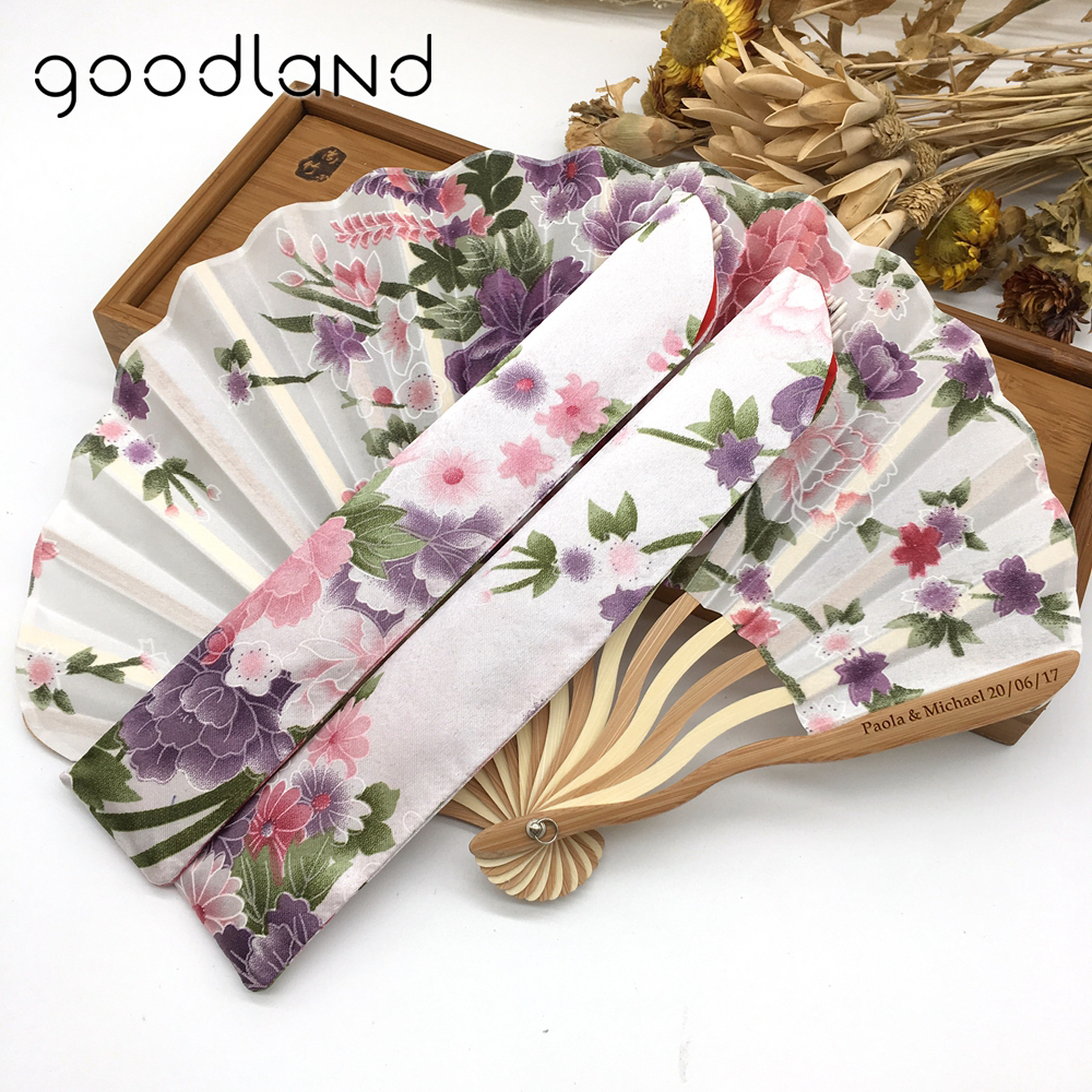 Free Shipping 10pcs Personalized Cherry Blossom Design Round Cloth Folding Hand Fan with Gift bag Wedding Gifts for Guests