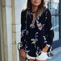 Singwing gasa de las mujeres camisas de manga larga blusa impresa floral delgado blusas casual clothing blusa del verano de las mujeres