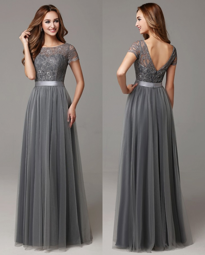 Grey long modest bridesmaid dresses with cap sleeves lace for Dresses for wedding party