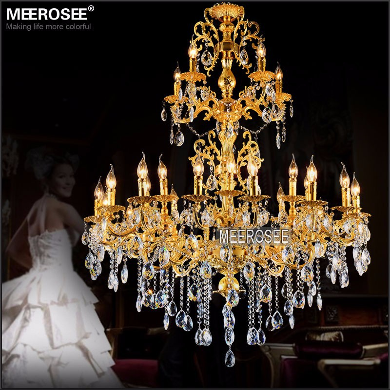 Luxurious Large Brass Color Crystal Chandelier Lamp Crystal Lustre - Indoor Lighting - Photo 4