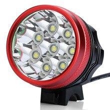 цена на Hot Bicycle Light 8x XM-L T6 LED Bike Headlight 9000 Lumen Mountain Bike Lamp Fishing Light 9600mAh Waterproof Battery&Charger