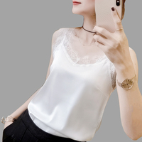2019 summer new fashion white Lace V neck Tank Tops women Sexy Solid color Large size Hollow Out Tops T shirt women