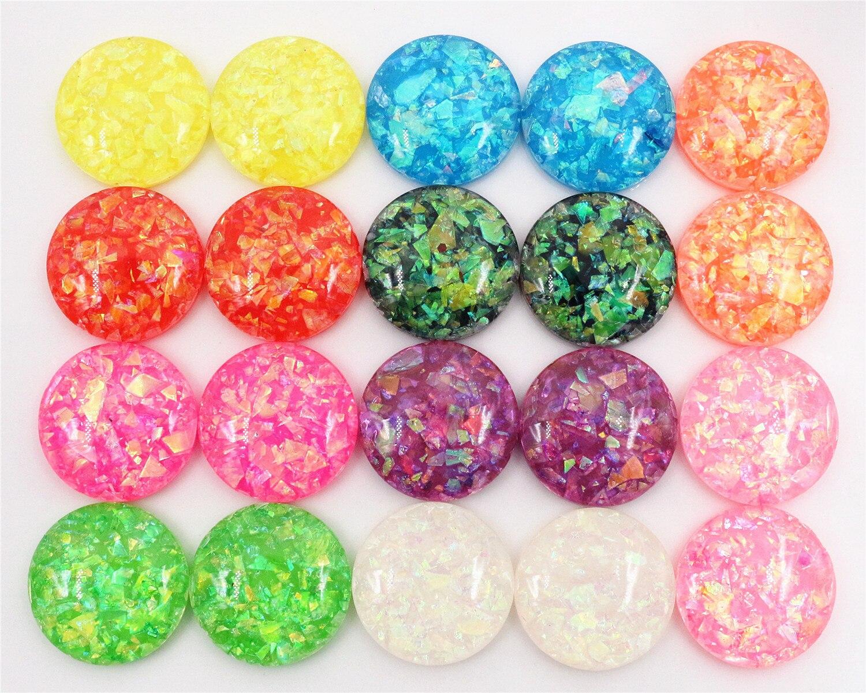 20mm 10pcs/Lot New Fashion Mix Color Built-in Metal Foil Flat Back Resin Cabochons Cameo V7-07