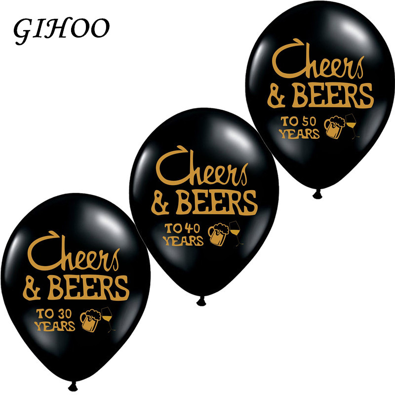 GIHOO 10pcs Cheers&Beers 21 30 40 50 Years Wedding Anniversary 10inch Latex Balloons Birthday Adults Party Decorations Supplies