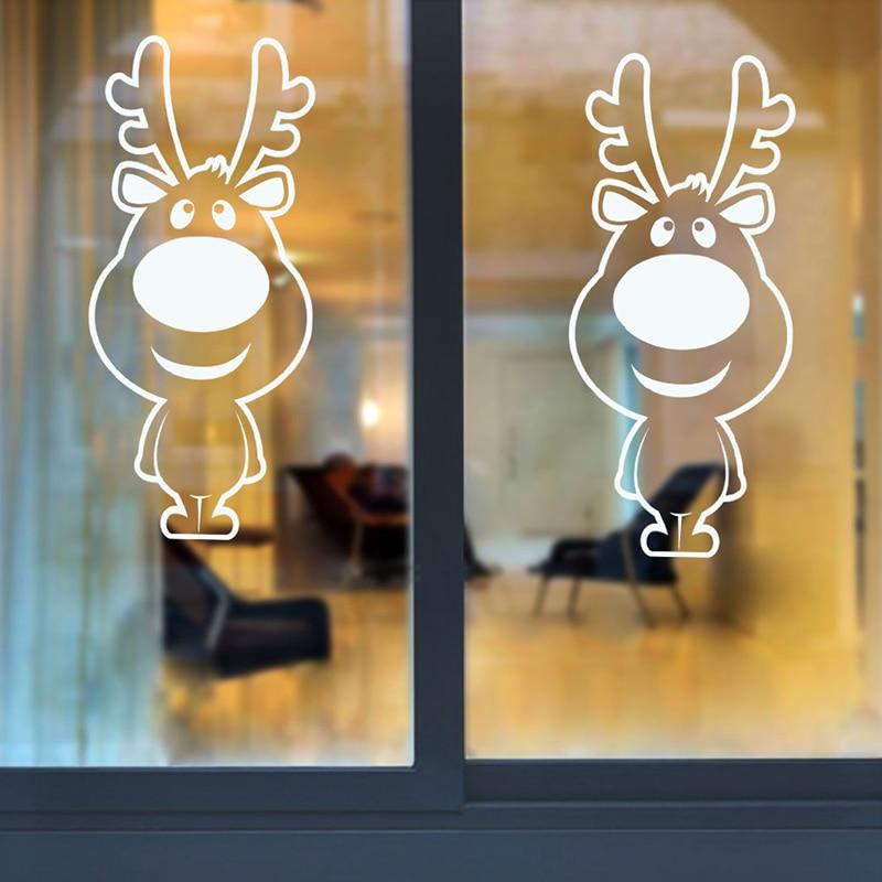 Autocollants muraux de noël grand nez renne boutique fenêtre verre décor joyeux noël décorations pour la maison Festival vinyle Stickers muraux