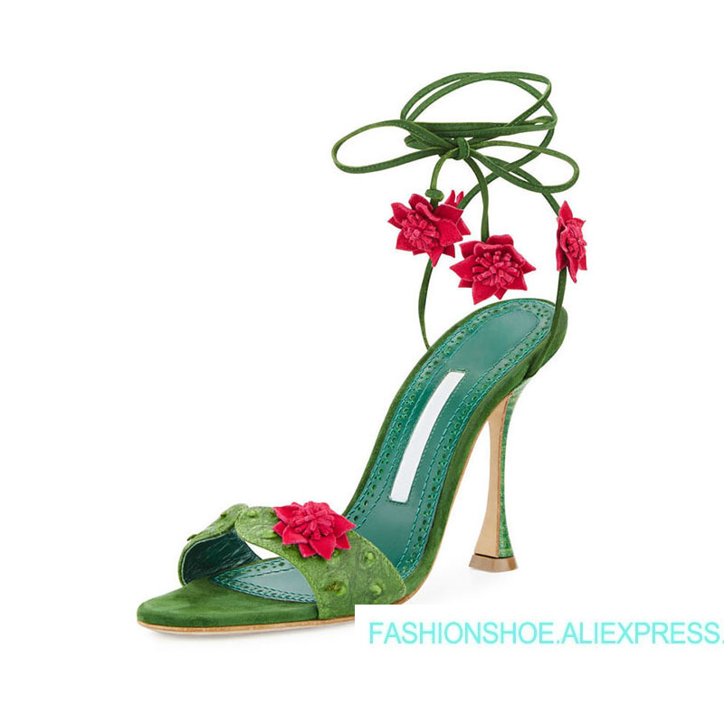 Hot Green Flowers Sandals Open Toe Cross tied Leather Sandals Designer Woman Party High Glass Heels Sweet Sandals Mujer Shoes