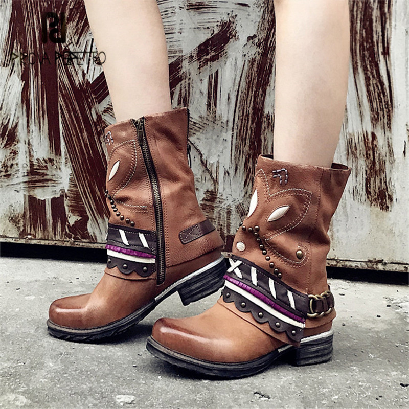 Prova Perfetto Handmad Women Ankle Boots Rivets Platform Flat Botas Mujer Genuine Leather Ethnic High Boots Rubber Shoes Woman pjcmg handmad 100