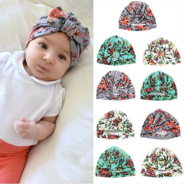 06b1581b2bb 1pcs Chosen Girls Soft Turban Bowknot Rabbit Ear Knot Cap Beanie Hat Floral India  Hat Bohemian Hat Winter Children s Caps
