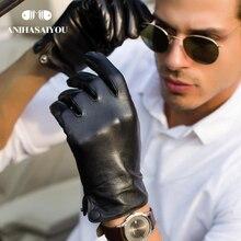 New product leather gloves men Real sheepskin genuine leather gloves men fashion gloves winter High grade winter gloves men
