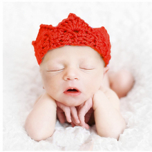 934827c80a3 kid Knitted Crown Flower Hairband Baby Newborn Photography Props Infant  Bebe Crochet Knitting Headband Hat Pictures