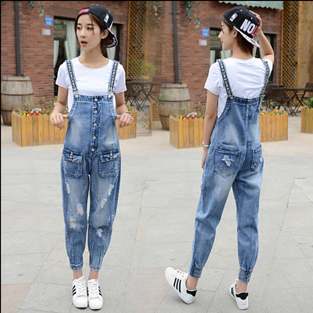 Unique Design Female Fashion Denim Bib Pants Loose Hole Overalls Leisure Ankle-Length-Jeans