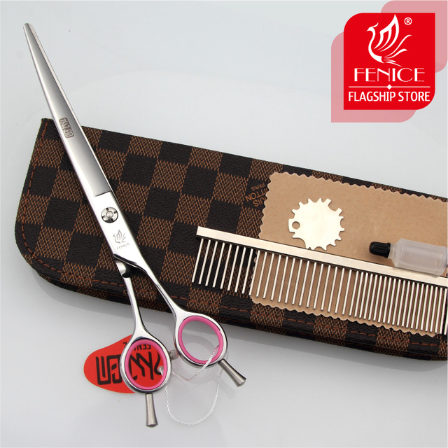 Fenice PET GROOMING SCISSOR 7.0/7.5/8.0 inch Grooming Tools for Dogs Curved Scissors