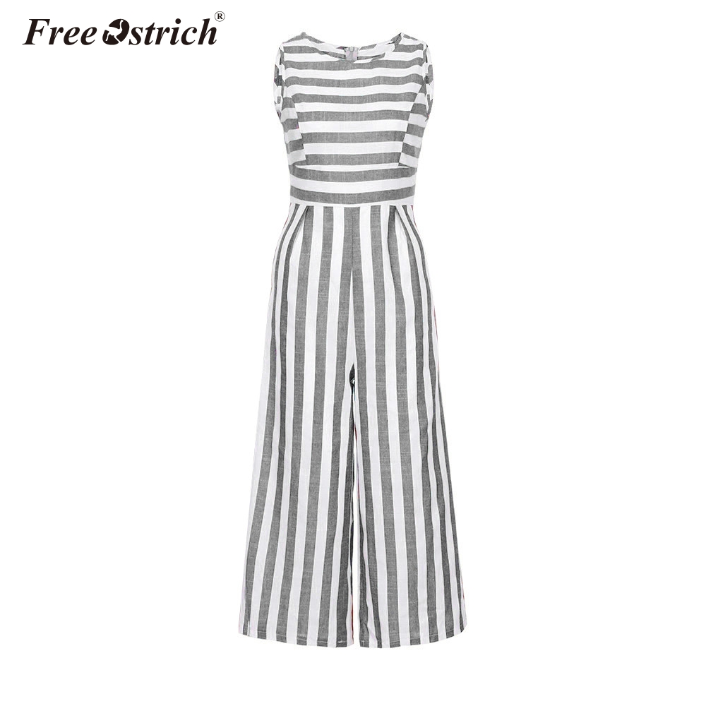 Free Ostrich Jumpsuit Summer Women Sleeveless Striped Jumpsuit Casual Clubwear Wide Leg Elegant Pants Outfit Jumpsuit N30