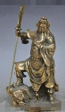 S6754 9″chinese bronze copper Soldier Generals GuanGong Guan Yu Hold Knife God statue D0318