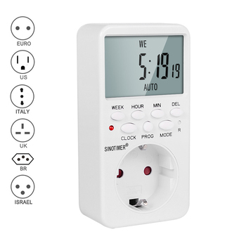 цена на EU UK BR Plug Outlet Electronic Digital Timer Socket with Timer 220V AC Socket Timer Plug Time Relay Switch Control Programmable