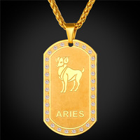 Zodiac Charms ARIES Pendant Necklace Women Men Jewelry Gift 2016 Rhinestone 18K Real Gold Plated Necklace