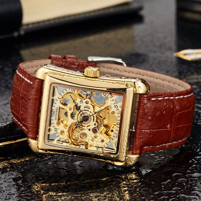OUYAWEI Luxury Skeleton Gold Movement Rectangle Automatic Self wind Watch Man Waterproof Leather Vintage Mechanical Watch Mens in Mechanical Watches from Watches