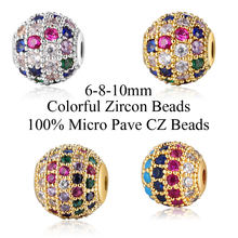 6mm/8mm/10mm Mix Colors DIY Zircon Spacer Disco Ball Beads for Beaded Bracelet Making DIY Jewelry Making Bead Wholesale(China)