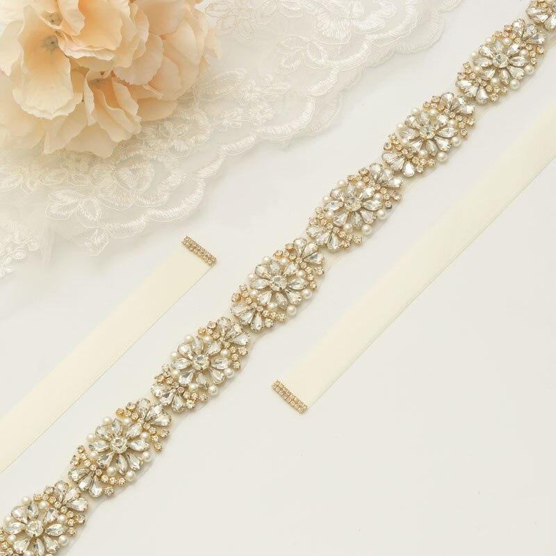 MissRDress Handmade Pearls Bridal Belt Gold Crystal Wedding Sash Rhinestones Wedding Belt For Bridal Bridesmaid Dresses JK886