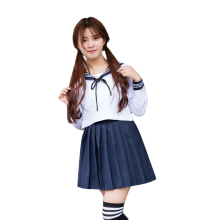 Autumn Japanese School Uniforms For Girls Cute Long Length Sailor Tops Pleated Skirt