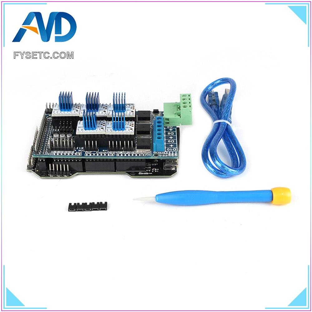 Imprimante 3D pièces RE-ARM carte de contrôle 32 bits mise à niveau Mega 2560 R3 + rampes 1.5 panneau de commande + 5pcs TMC2208 V1.2 UART moteur pilote - 2
