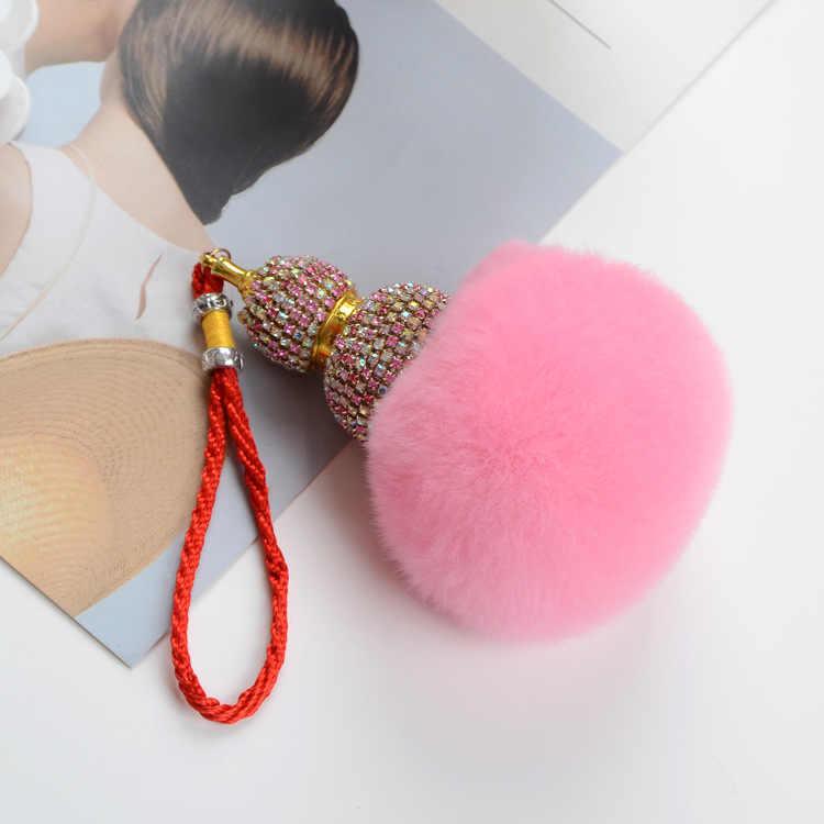 Moda Strass Chaveiro cabaça Pele Real Pompom saco Acessórios Do Carro Pingente Chaveiro criativo feminino Melhor Presente jóias K1653