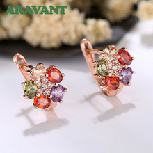 2019 New Arrival Colorful Zircon Crystal Rose Gold Color Chic Flowers Hoop Earrings For Women Jewelry